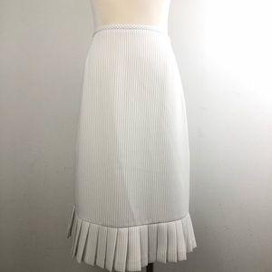 Tahari White Pin Stripe Pleated Pencil Skirt